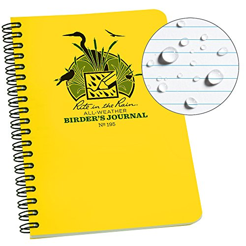 Rite in the Rain All Weather Spiral Notebook, 4 5/8 x 7, Yellow Cover, Birders Journal (No. 195)