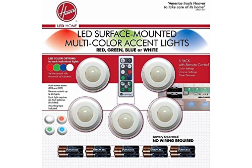 Hoover Multi-Color LED Accent Lights with Remote Control–5 Pack