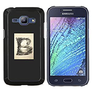 Dragon Case - FOR Samsung Galaxy J1 J100 J100H - b letter grey poster initial minimalist - Caja protectora de pl??stico duro de la cubierta Dise?¡Ào Slim Fit
