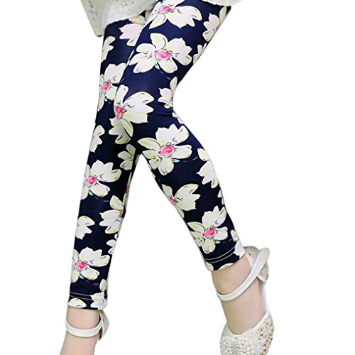Price comparison product image Pencil Pants Makalon Children Trousers Printing Leggings Flower Kids Classic baby Girls Pencil Pants (8-9 years old,  Navy)