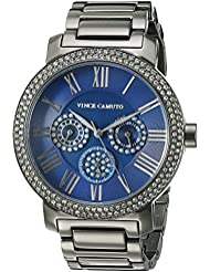 Vince Camuto Womens VC/5001NVGY Swarovski Crystal Accented Multi-Function Dial Gunmetal Bracelet Watch