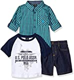 U.S. Polo Assn.. Little Boys' Long Sleeve Woven Shirt, T-Shirt and Short Set, Printed Fine American Clothing Multi Plaid, 5