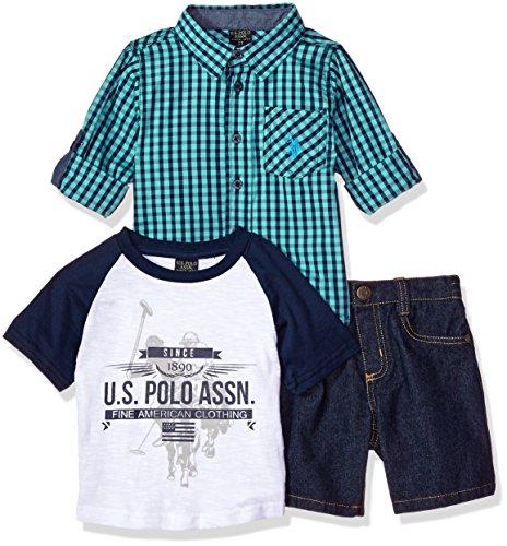 U.S. Polo Assn. Boys' Little Long Sleeve Woven, T-Shirt and Short Set, Printed fine American Clothing Multi Plaid, 7