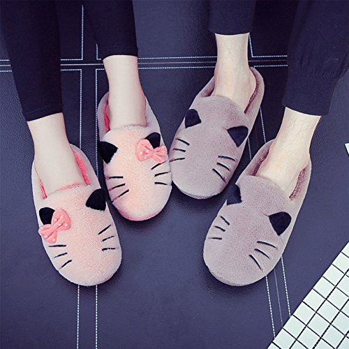 Attlati Cute Cartoon Cat House Pantofole Morbide Antiscivolo Donne Incinte Calde Scarpe Casa Peluche Nero