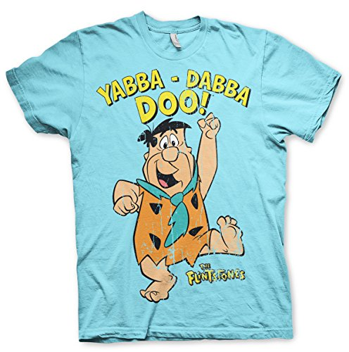 The Flintstones Officially Licensed Yabba-Dabba-Doo T-Shirt (SkyBlue), Large
