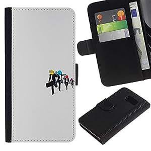 NEECELL GIFT forCITY // Billetera de cuero Caso Cubierta de protección Carcasa / Leather Wallet Case for Samsung Galaxy S6 // Embalse perro sonriente divertido