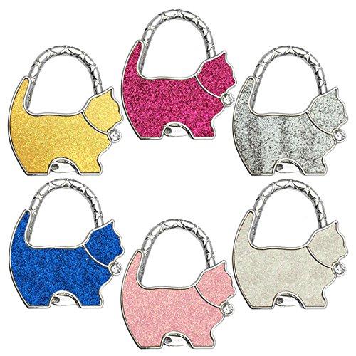 Reizteko Purse Hook, Rhinestone Cat Foldable Handbag Purse Hanger Hook Holder for Tables (Pack of 6) by Reizteko