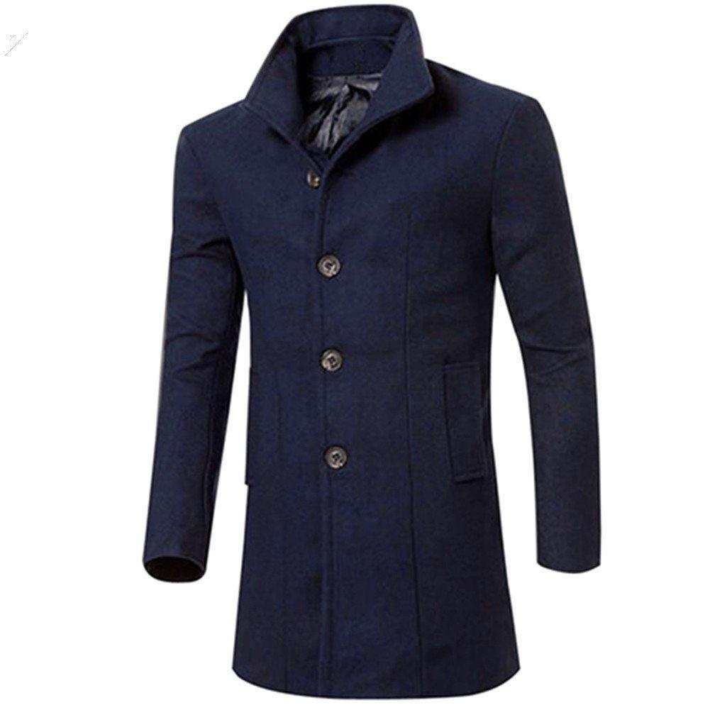 Blackzone Men's Jacket Outwear Fashion Slim Fit Long Trench Coat Windbreaker Lapel Button Jacket Outwear