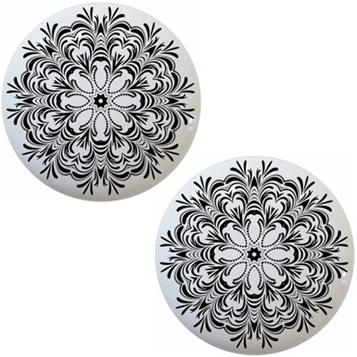 (Set of 2 Geometric Black White Floral Star Pattern Ceramic Cabinet Drawer Knobs)