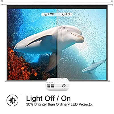 "DR.J (Latest Upgrade) 4Inch Mini Projector with 170"" Display - 40,000 Hours LED Full HD Video Projector 1080P Supported, Compatible with Roku Stick, Fire TV Stick, HDMI,VGA,USB,AV,SD,PS4"