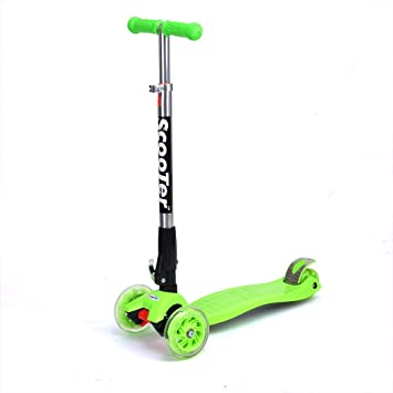 FASCOL® Twist & Roll Patinete scooter plegable para niños con 3 ruedas y PU LED