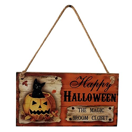CHUANGLI Wooden Sign with Jute Rope Hanger Halloween Carnival Night Decorations Hanging Plate Pumpkin Black Cat with Haunted House -