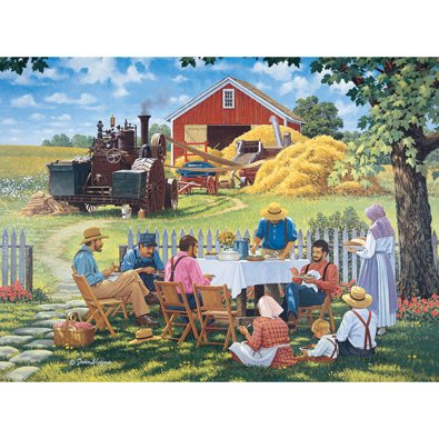 Bits and Pieces - 1000 Piece Jigsaw Puzzle for Adults - Our Daily Bread - 1000 pc Summer Farm Scene Jigsaw by Artist John Sloane - Our Daily Bread Dies