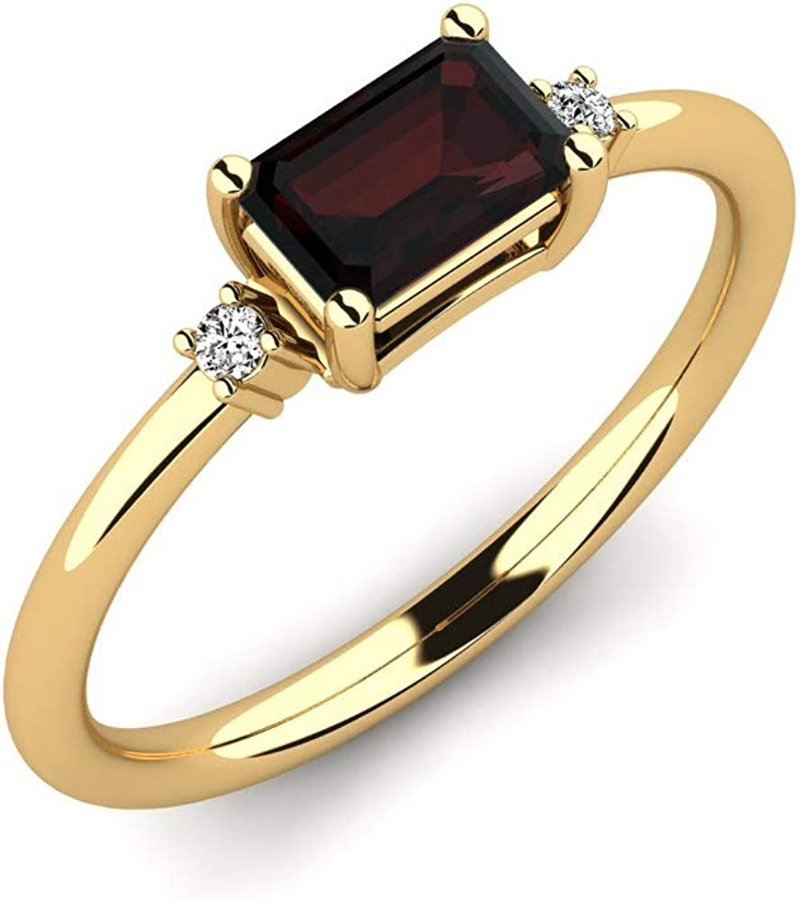 Anillo Carlyn con granate AAAA 0,62 ct con corte esmeralda y diamantes VS 0,03 ct - Oro amarillo 375 - Anillo de piedras preciosas reales - Anillo de compromiso - Regalos para mujeres
