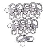Yibuy 10 x Small 304 Stainless Steel Snap Shackle Quick Release Swivel Bail Rigging