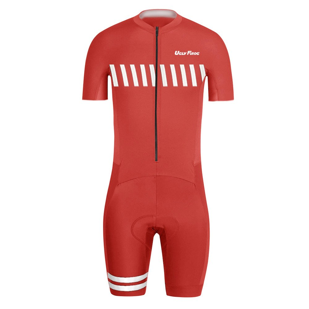 Uglyfrog Wear #03 Designs Men's Triathlon Tri Suit/Suit Short Sleeve Quick Dry Cycling Skinsuit - Triathlon Race Suit with Extended Zippers Breathable & Durable Cycling Speedsuit