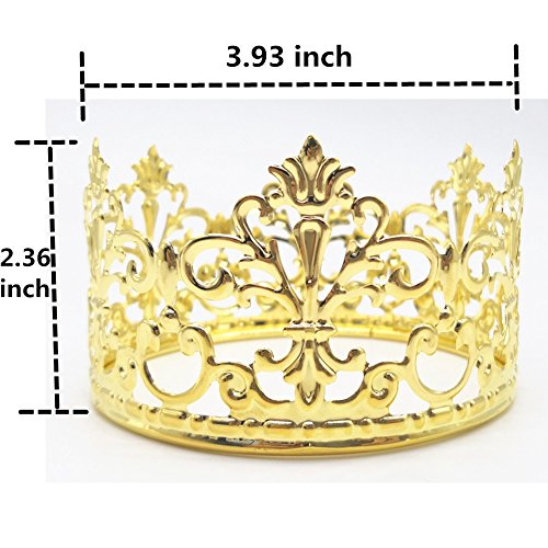 HYOUNINGF Gold Crown Cake Topper Elegant Cake Decoration For King, Queen, Prince And Princess Themed Parties, Royal Birthday Cake Decoration by HYOUNINGF (Image #5)