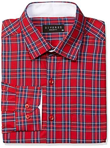 Diverse Men's Checkered Regular Fit Formal Shirt
