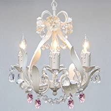 White Iron Crystal Flower Chandelier Lighting W/ Pink Crystal Hearts! - Perfect For Kid's And Girls Bedroom!