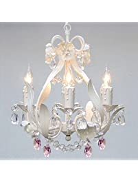 WHITE IRON CRYSTAL FLOWER CHANDELIER LIGHTING W/ PINK CRYSTAL HEARTS!    PERFECT FOR KIDu0027S