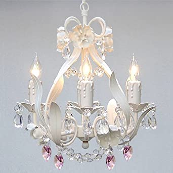 WHITE IRON CRYSTAL FLOWER CHANDELIER LIGHTING W/ PINK CRYSTAL ...