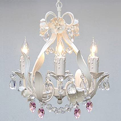 lighting for girls bedroom. WHITE IRON CRYSTAL FLOWER CHANDELIER LIGHTING W/ PINK HEARTS! - PERFECT FOR KID\u0027S Lighting For Girls Bedroom E