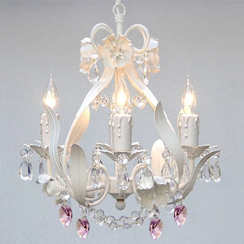 WHITE IRON FLORAL CRYSTAL FLOWER CHANDELIER LIGHTING W/ PINK CRYSTAL ...
