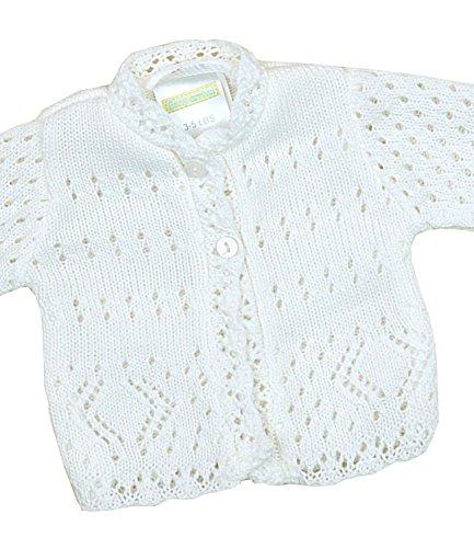 - BabyPrem Preemie Baby Cardigan Jacket Lacy Knitted 3-8lb WHITE PREM 2