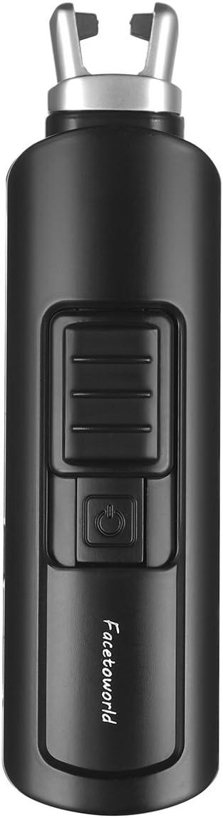 Argent USB Rechargeable Arc Briquet,Coupe-vent Sans Flamme pour Cuisini/ère de Camping Barbecue de Cuisine /à Domicile Allume Bougie Electrique avec Affichage de Batterie LED,Conception de Crochet