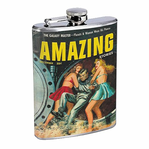 Stainless Steel 8oz Hip Silver Flask Retro Alien Abduction 13 Space Ship UFO Invaders Paranormal by American Packing & Gasket