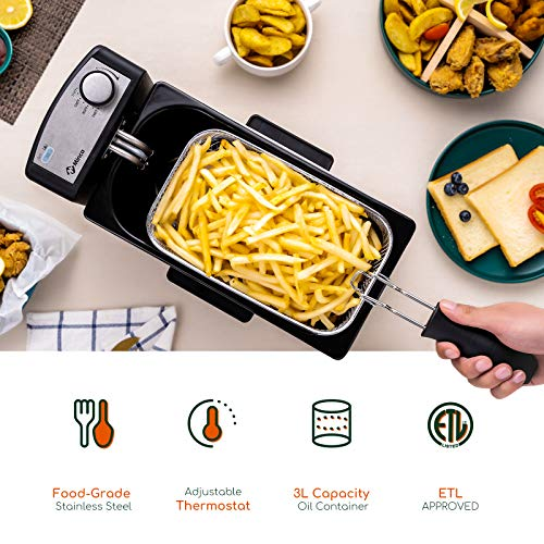 Electric Deep Fryer 3 Liter, Cool-Touch Oil Fryer with Stainless Steel Basket, 1500W Deep Fryer with Adjustable Temperature Knobs M Minca