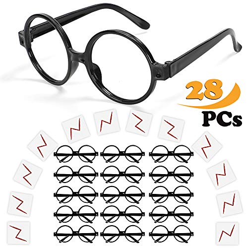 ceeco Wizard Glasses with Round Frame No Lenses and Lightning Bolt Tattoos for Kids Costume, Halloween, St Patrick's Day Costume Party, 16 Pack of Each, Black -