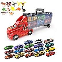 Siyushop Transportar el Carro del camión de Juguete para niños y niñas, Incluye 12/18 Autos, Dibujos de Juegos y Juguetes de Dinosaurios: el Regalo Perfecto para los niños (Color : 2)
