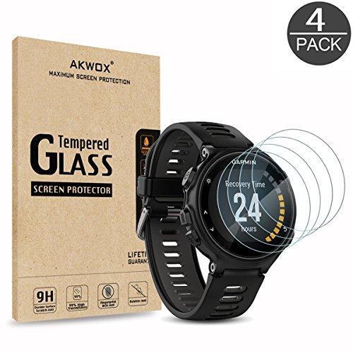 (Pack of 4) Tempered Glass Screen Protector for Garmin Forerunner 735XT, Akwox [0.3mm 2.5D High Definition 9H] Premium Clear Screen Protective Film for Garmin Forerunner 735XT