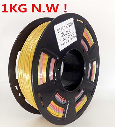 Stronghero3d FDM 3D Printer PLA Filament 1.75mm Multicolor Gradient Rainbow 1KG (2.2lb ) Accuracy  0.05MM by 3DDPLUS