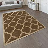 Paco Home Designer Rug Living Room Flat Woven Rug Modern Trend Rug In Brown Beige, Size:80x150 cm