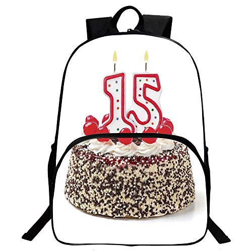 15th Birthday Decorations Beautiful School Backpack,Chocolate Cherry Cake with Number Candles Surpise Party Theme For classroom,11.8