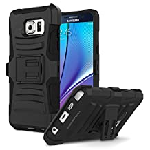 Galaxy Note 5 Case, MoKo Shock Absorbing Hard Cover Ultra Protective Heavy Duty Case with Holster Belt Clip + Built-in Kickstand for Samsung Galaxy Note 5 5.7 Inch (2015) - Black