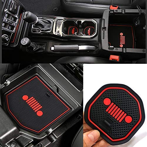 Auovo Anti-dust Door Mats for 2018 up Jeep Wrangler JL Unlimited Gate Door Liners Inserts Cup Console Interior Decoration Trim Accessories (Pack of 19) (Red & Black)