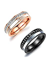Daesar 2 x Friendship Rings Stainless Steel Rings for Women Rose Gold Rings with Free Engraving