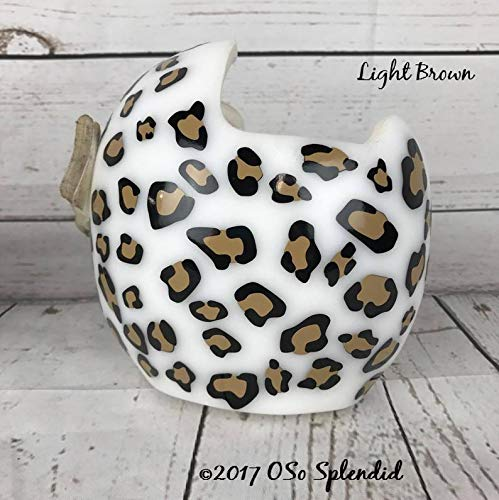 BYRON HOYLE Leopard Spots - Though she be but Little, she is Fierce - Personalized Cranial Band Decals - Helmet Stickers - Cheetah Jaguar ()