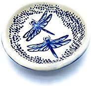 B JANECKA Blue Dragonfly Soap Dish or Ring Tray, Handmade in USA, Pottery 9th Anniversary