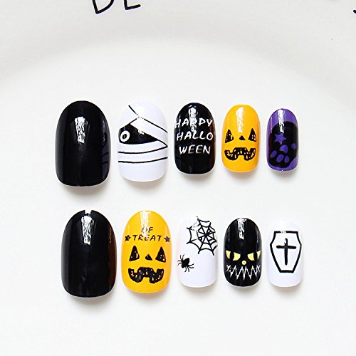 24pcs Halloween Gift Solid Black Yellow Pumkin White Spider Web Purple Skulls Oval Short Full Cover False Nail