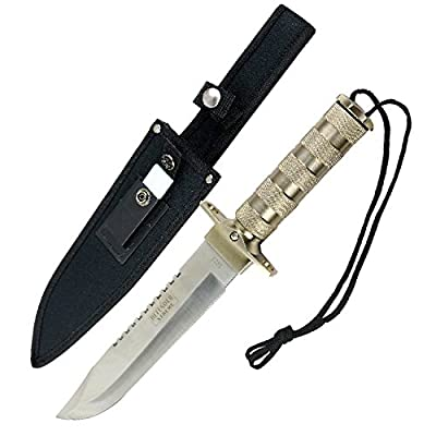 "Last World 5223 Heavy Duty Survival Knife with Sheath, Silver, 14"""