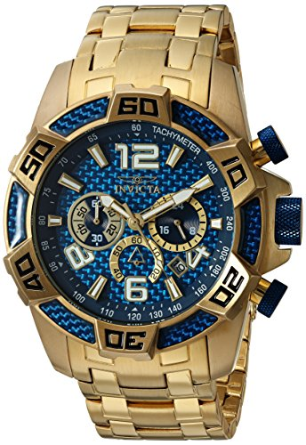 Invicta Men's Pro Diver Quartz Diving Watch with Stainless-Steel Strap, Gold, 26 (Model: - Watch Blue Pro