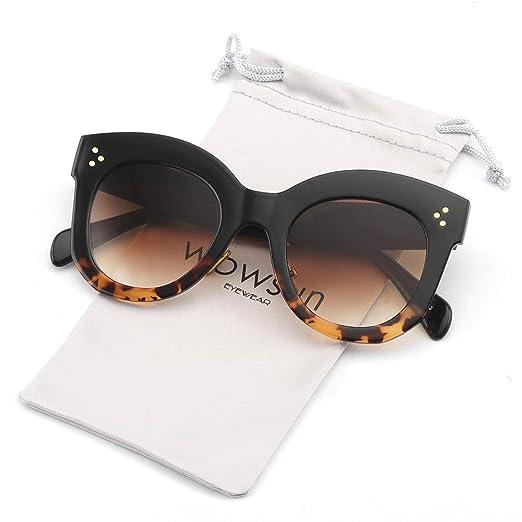 b69a54c94 WOWSUN Oversized Square Sunglasses Fashion Vintage Designer Shades Women  UV400 (Leopard Tortoise)