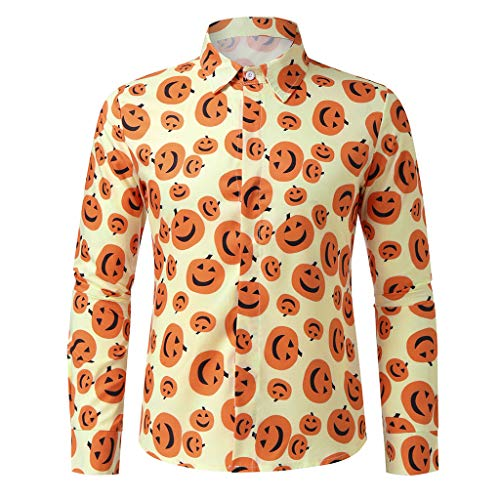 Holzkary Fashion Funny Printed Party Pullover Loose Soft Long Sleeve Turn-Down Collar Shirts Halloween Tops for ()