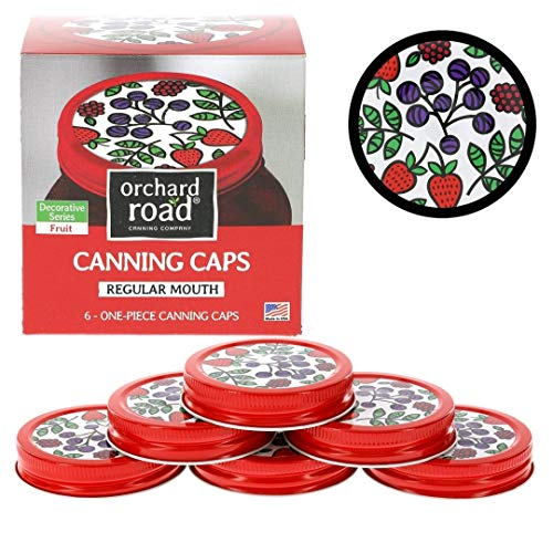 Mason Jar Lids - Decorative Canning Caps Fit Regular Mouth Mason Jars - Fruit Design - Pack of 6
