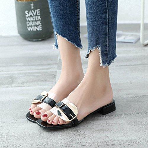 Chaussures Talons Tongs Mules Vernis Femmes Transparent Plage Casual Mode Sandales Noir Claqettes Boucle qPx81x5w