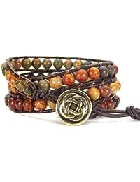 Celtic Knot Bracelet Leather Picasso Jasper Beaded Wrap